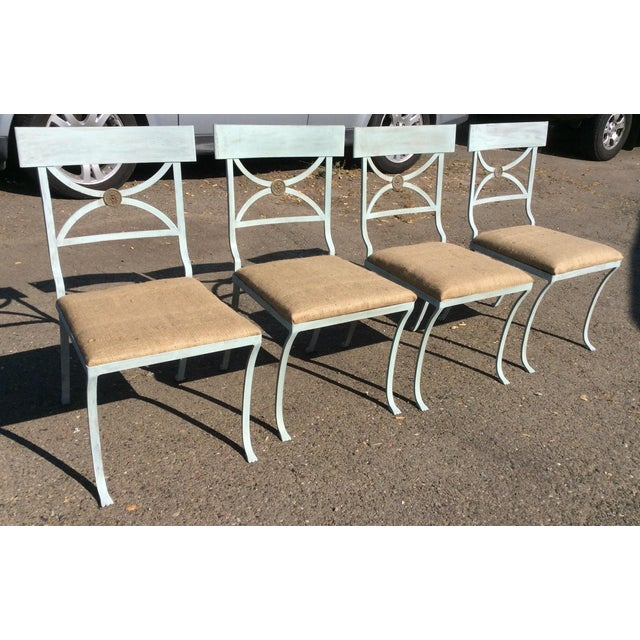 """Great looking set of 4 heavy iron Hollywood Regency Style Chairs used in the movie """"Camille"""". Each one has a drop in seat..."""