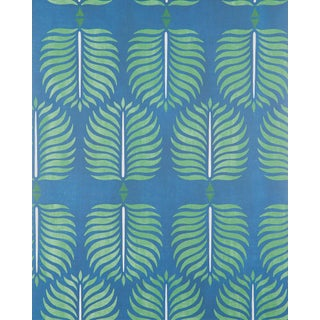 Serena & Lily Granada Print Navy Blue & Green Wallpaper For Sale