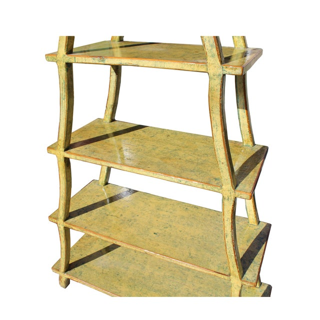 Distressed Yellow 5 Shelves Triangle Ladder Shape Bookcase Display Cabinet For Sale - Image 4 of 6