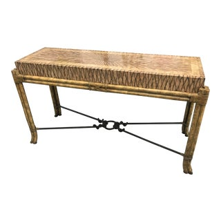 1980s Maitland Smith Coconut and Rattan Console For Sale
