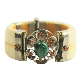 Ivory Malachite & Coral Hinged Bangle Bracelet Boho Chic For Sale