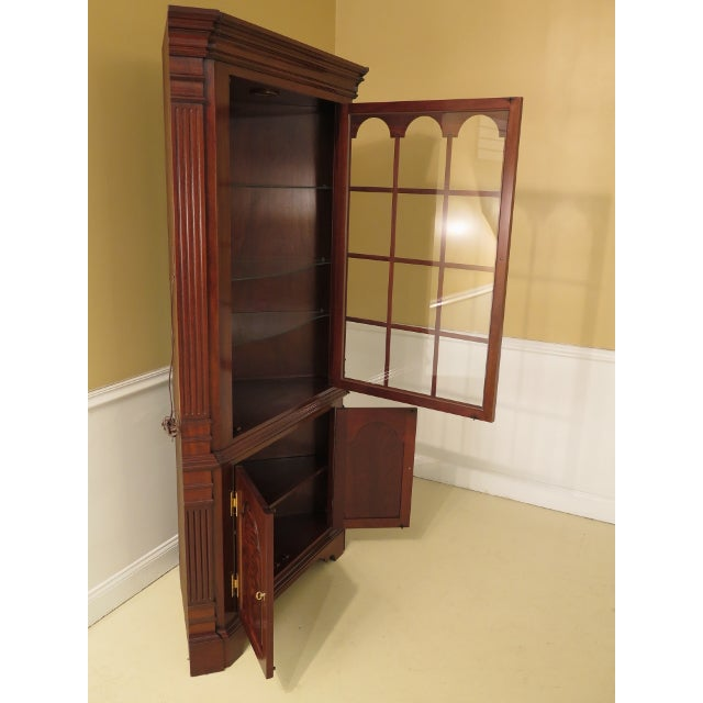 Councill Craftsmen Chippendale Mahogany Corner Cabinets- A Pair For Sale - Image 9 of 13