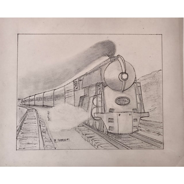 Vintage Art Deco Steam Locomotive NY Drawing - Image 3 of 5