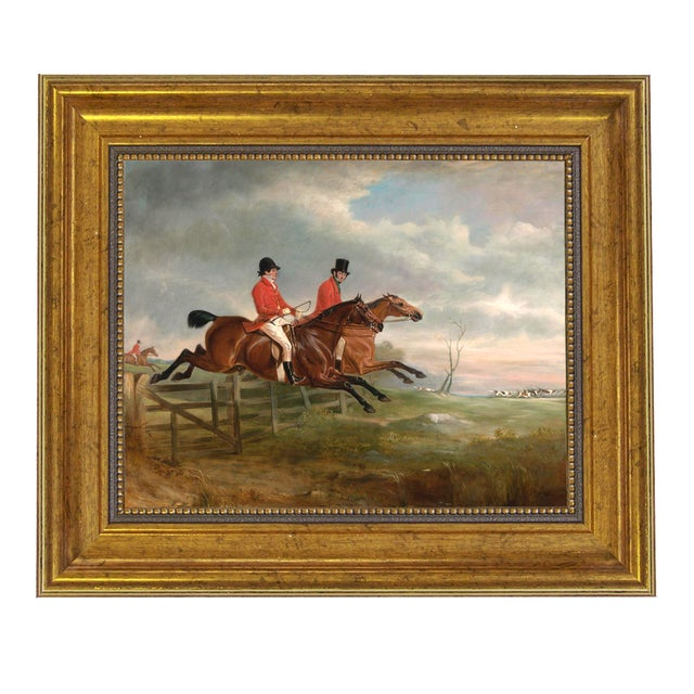 English Traditional Taking the Fence Together Fox Hunting Horse Framed Oil Painting Print on Canvas For Sale - Image 3 of 3