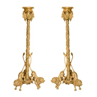 Early 20th Century Renaissance Style Gilt Bronze Candlesticks - a Pair For Sale