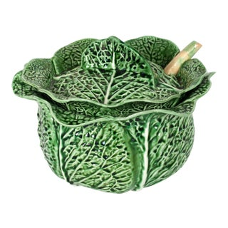 Green Majolica Cabbage Leaf Soup Tureen With Ladel For Sale