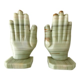 Vintage Green Onyx Hand Bookends - A Pair