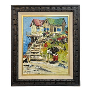 Vintage Colorful Private Beach House Painting For Sale