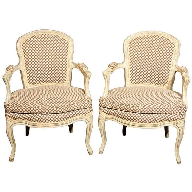 French Louis XIV Style Fauteuils - Pair - Image 1 of 8