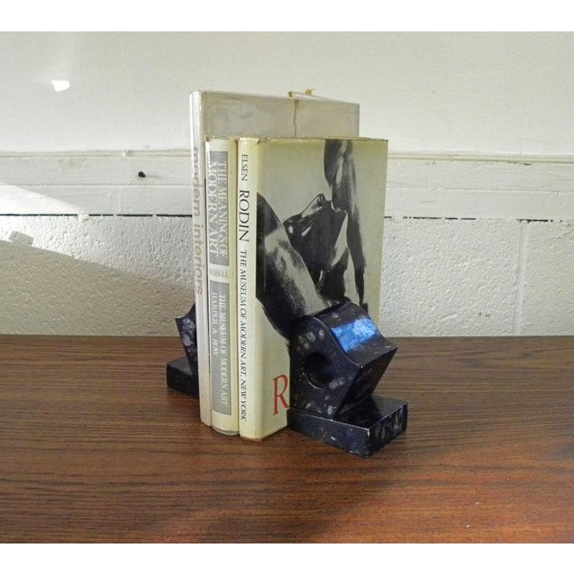 Abstract Vintage Contemporary Agate Marble Bookends - Set of 2 For Sale - Image 3 of 6