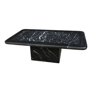 Postmodern 80s Nero Marble Coffee Table For Sale