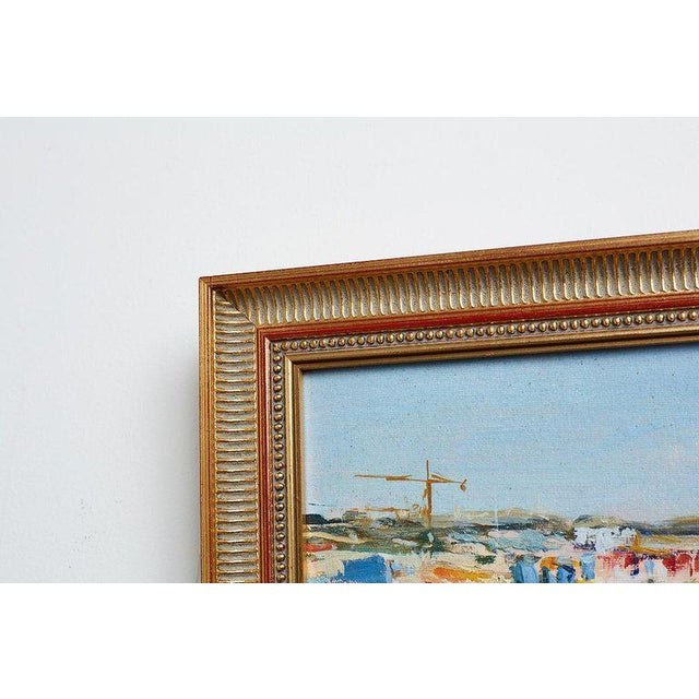 Mid 20th Century Mid Century T. Scola Coastal Painting Oil on Board For Sale - Image 5 of 13
