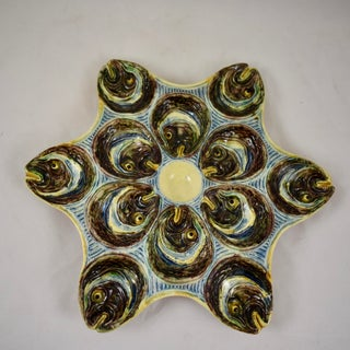 French Barbotine Palissy Majolica Fish Head Star Shaped Oyster Plate, Circa 1880 Preview
