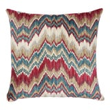 Image of Schumacher Bezique Flamestitch Red & Peacock Pillow For Sale