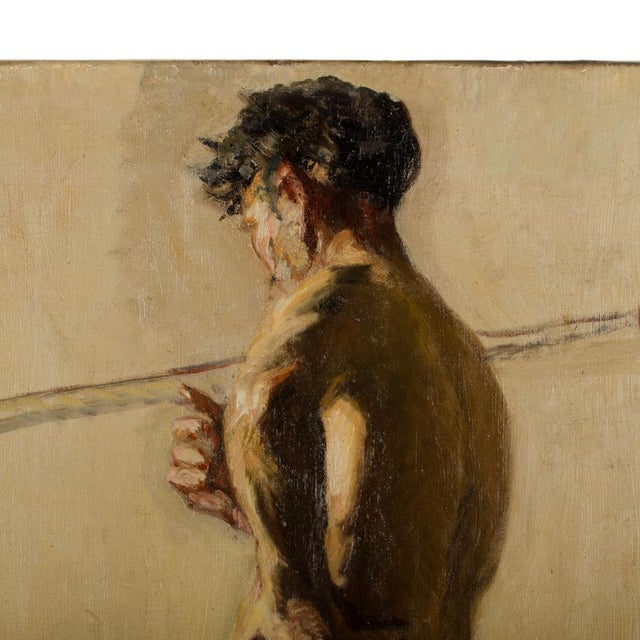 19th Century Portrait of a Nude Male Study Oil Painting by Louis Henri Revillon For Sale - Image 12 of 13