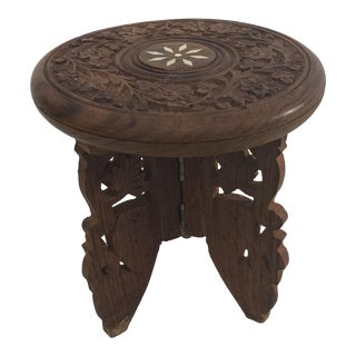 Vintage Carved Wood Inlaid Folding Display Stool For Sale