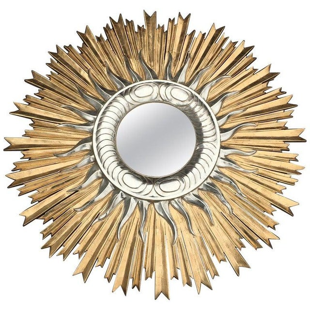 Glass Italian Hand Carved Sunburst Mirror For Sale - Image 7 of 7