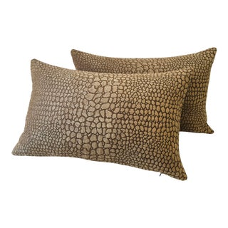 Faux Crocodile Plush Chenille Pillows - a Pair For Sale