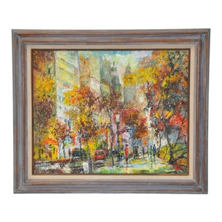 "David Heath ""Autumn in New York"" Original Oil Painting C.1960s For Sale"