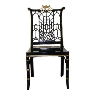 Chinoiserie Chinese Chippendale Black Lacquer Pagoda Bamboo Side Chair