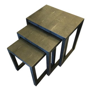 Contemporary Made Goods Shagreen Nesting Tables - Set of 3