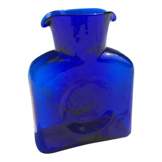 Contemporary Blenko Cobalt Blue Art Glass Carafe For Sale