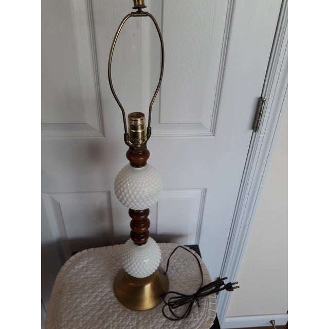 Mid-Century Modern Mid Century Hobnail Milk Glass Table Lamp Brushed Gold Base For Sale - Image 3 of 6