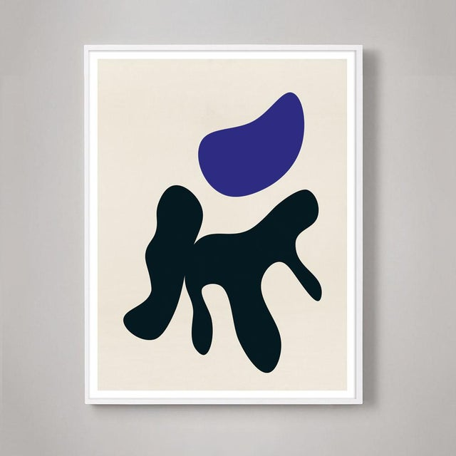Modern Abstract With Biomorphic Shapes Blue and Black #2 Print For Sale In Los Angeles - Image 6 of 6