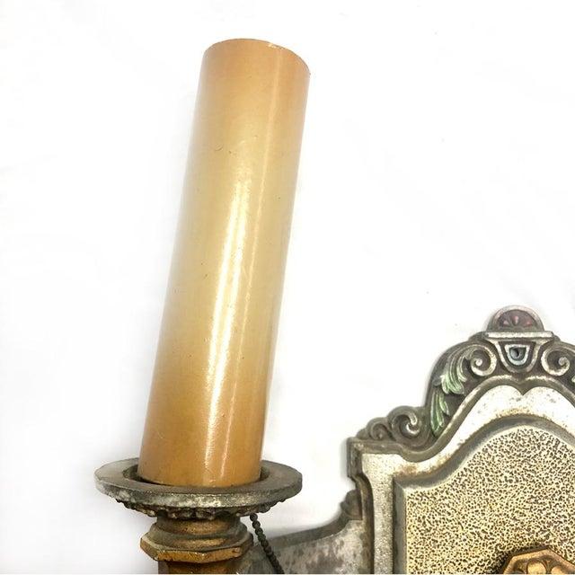 1930s Art Deco Cast Metal Double Arm Sconce For Sale - Image 4 of 8
