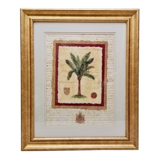 Mid 20th Century Palm Tree Print Poster, Framed For Sale