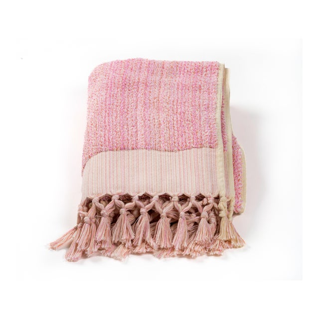 Earth Lines Handmade Organic Cotton Towel in Pink For Sale - Image 4 of 8