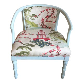 Mid-Century Chinoiserie Blue Upholstered Chair For Sale