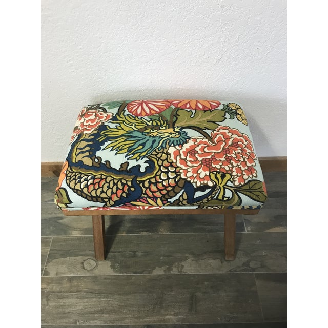 """Vintage upholstered X-bench in upholstered in striking, bold chinoiserie print """"Chiang Mai Dragon"""" in Aquamarine by..."""