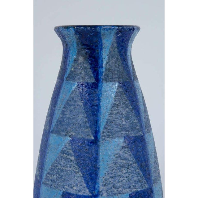 Italian Bitossi Tall Blue Geometric Ceramic Vase For Sale - Image 3 of 10