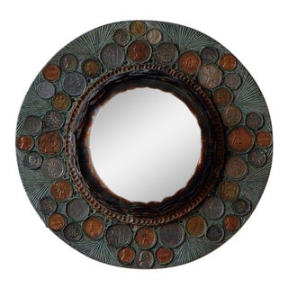 Small Decorative Convex Mirror in the Style of Line Vautrin For Sale