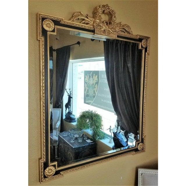 Black Louis XVI Style Giltwood & Ebony Beveled Glass Mirror For Sale - Image 8 of 8