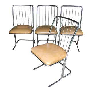 Mid-Century Modern Cantilevered Chrome Dining Chairs by Daystrom - Set of 4 For Sale