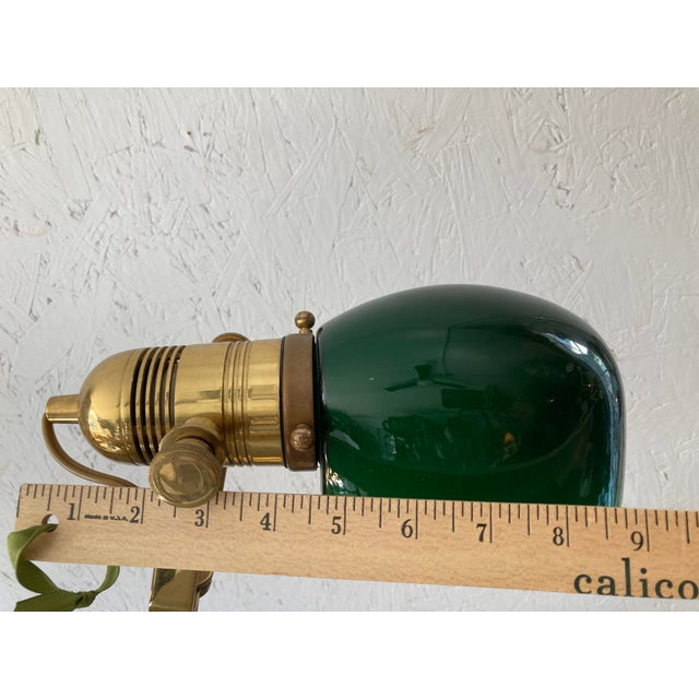 1950s Mid Century Solid Brass Pharmacy Desk Lamp For Sale - Image 5 of 9