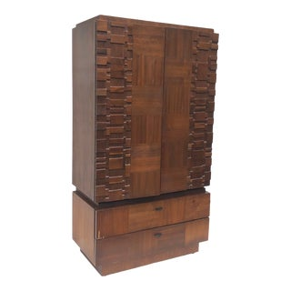 Brutalist Modern Armoire Dresser For Sale