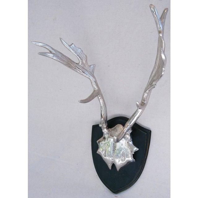 Faux Mounted Stainless Steel Deer Trophy Antlers - Image 3 of 7