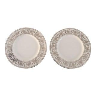 Elegant Lenox Royal Hannah Platinum Luncheon Plates S/2 For Sale