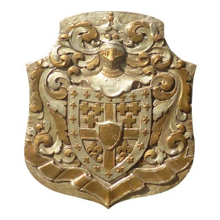 Vintage Medieval Style Gold With Silver Coat of Arms Plaque