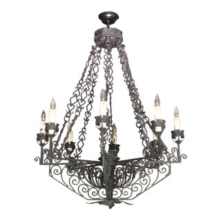 Spanish Revival Reproduction Iron Chandelier 8 Light Candle For Sale