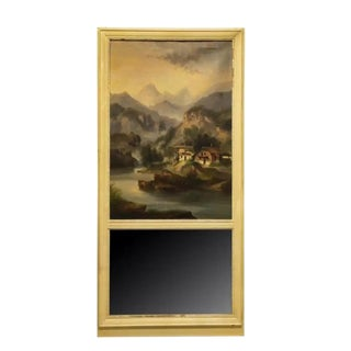 19th Century French Trumeau Mirror With Painted Landscape Scene For Sale