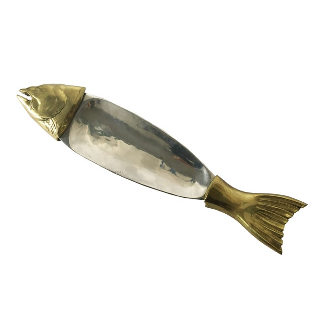 Mid-Century Modern Brass & Chrome Salmon Fish Serving Platter For Sale - Image 3 of 6
