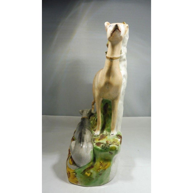 Large 19th C Staffordshire Greyhounds Spill Vase For Sale In Miami - Image 6 of 9