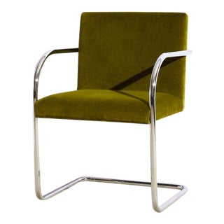 Brno Tubular Chrome Chair in Olive Green For Sale