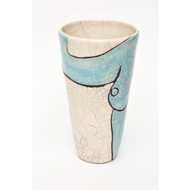 Turquoise Vintage Raku Ceramic Nude Vase, Signed For Sale - Image 8 of 11