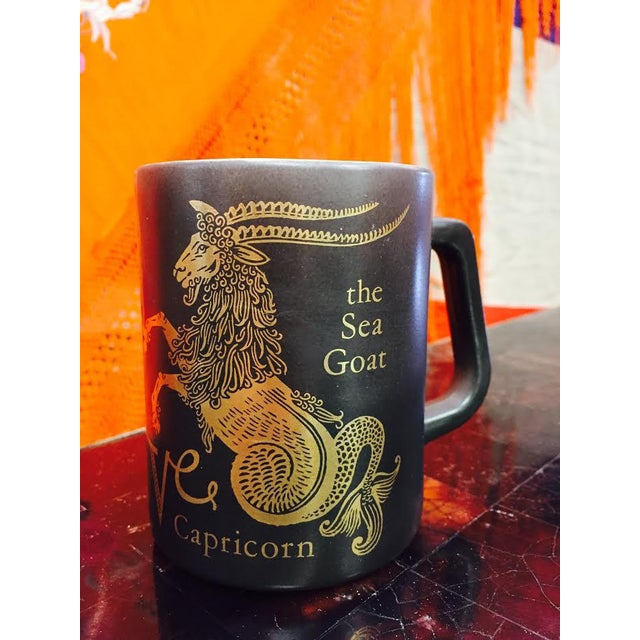 Vintage Black & Gold Zodiac Coffee Cup Mug For Sale - Image 5 of 11