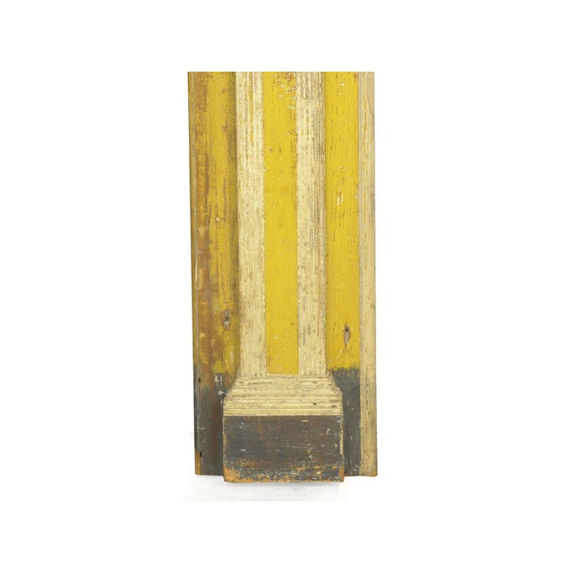 Wood Neoclassical Federal Antique Fireplace Surround Mantel in Early Yellow & White Paint For Sale - Image 7 of 13